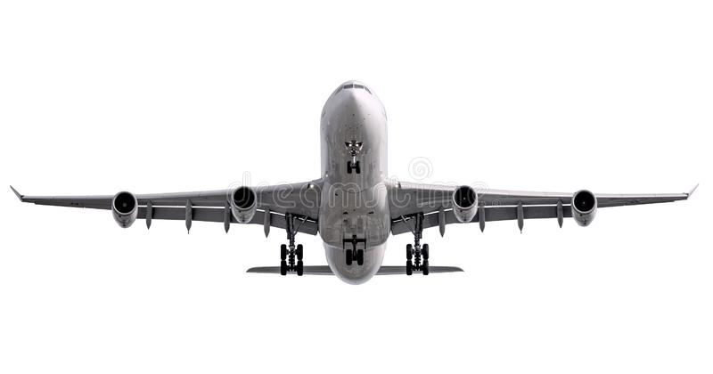 The white four jet engines airline plane take off royalty free stock photography