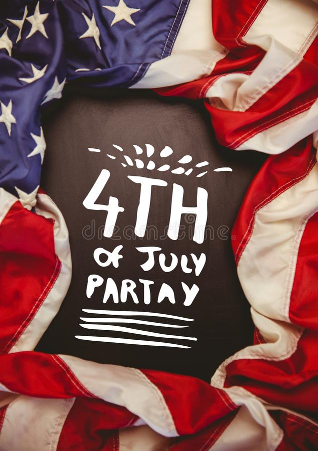 White fourth of July party graphic against chalkboard and american flag royalty free stock photos