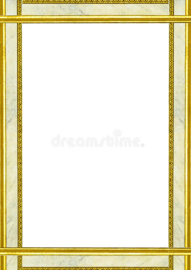 Blank Frame With Marble and Golden Decorated Edges royalty free stock images