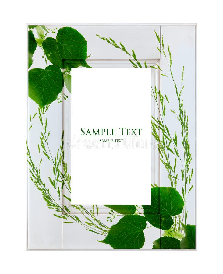 White frame with green leaves
