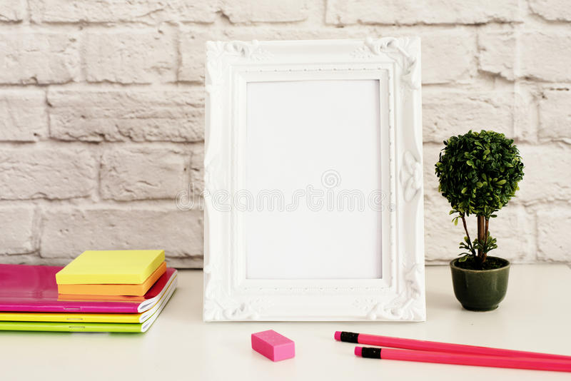 White Frame Mock Up, Digital MockUp, Display Mockup, Styled Stock Photography Mockup, Colorful Desktop Mock Up royalty free stock images