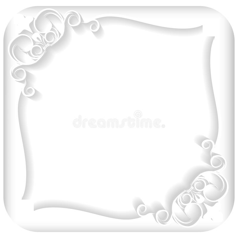 White frame. Ornament, paper, white, announcement, invitation, cut paper, cut out paper, shadow, backdrop, corner, wallpaper, card, greeting card, concept, ideas vector illustration
