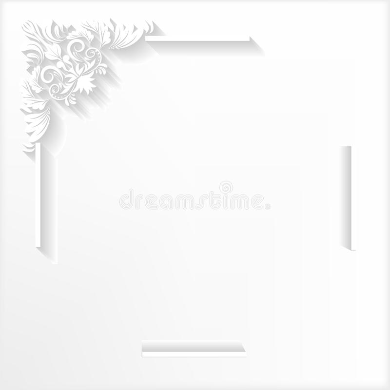 White frame. Ornament, paper, white, announcement, invitation, cut paper, cut out paper, shadow, backdrop, corner, wallpaper, card, greeting card, concept, ideas royalty free illustration