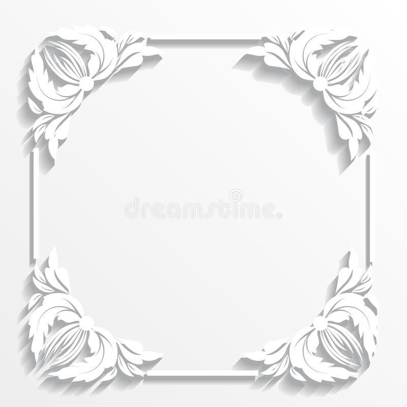 White frame. Ornament, paper, white, announcement, invitation, cut paper, cut out paper, shadow, backdrop, corner, wallpaper, card, greeting card, concept, ideas stock illustration