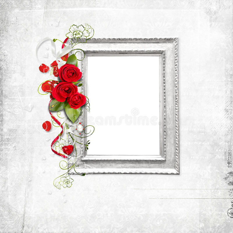 Download White frame with red roses stock illustration. Illustration of wedding - 13344711