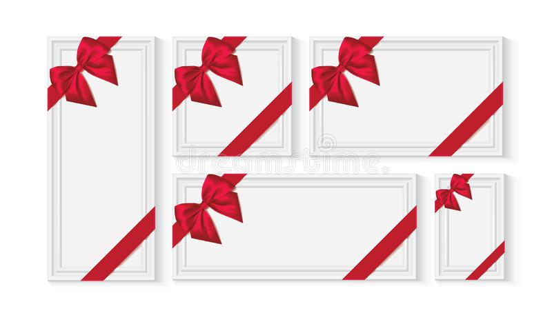 White frame with a red bow. White frame with a red silk bow mock up vector vector illustration