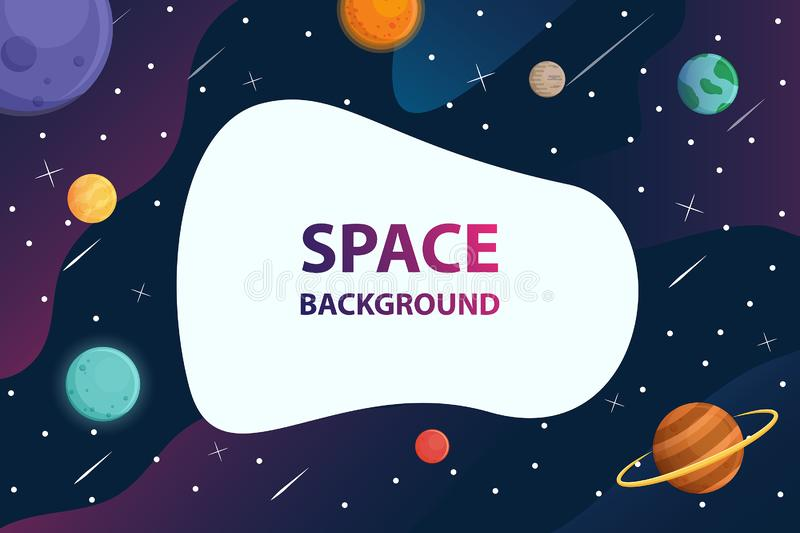White frame text with planet  in space galaxy background,vector. White frame text with planet in space galaxy background vector illustration