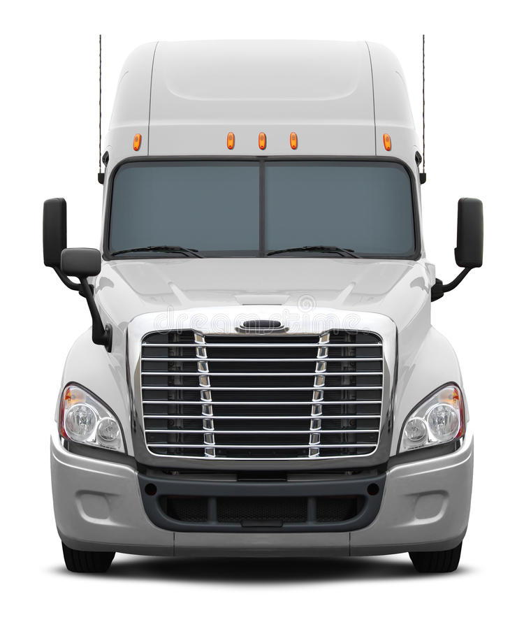 White freightliner columbia truck front view. royalty free illustration