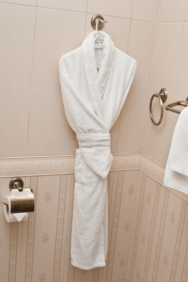 White fresh bath robe hang on bathroom wall white shower for What to hang on bathroom walls