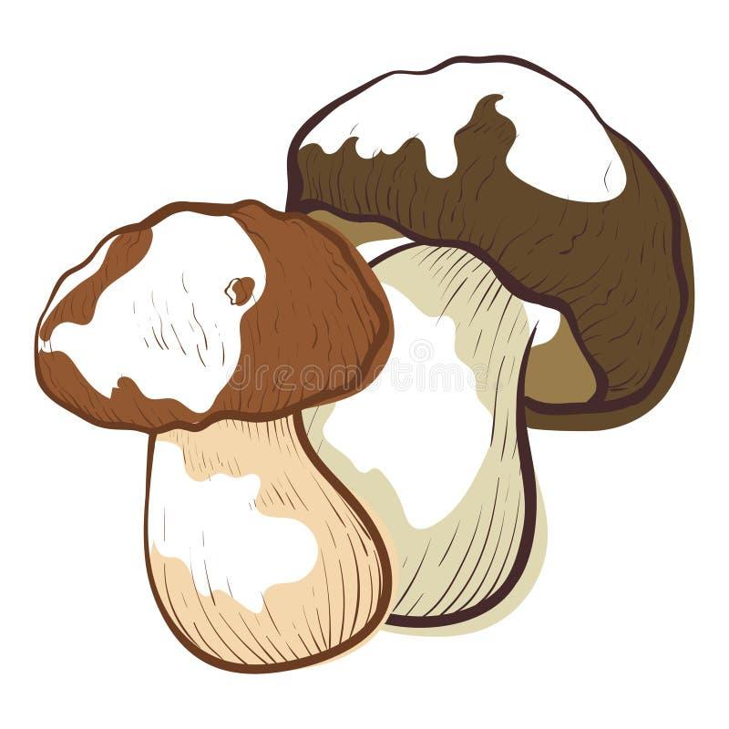 White fresh mushroom icon, healthy vegetarian symbol royalty free illustration