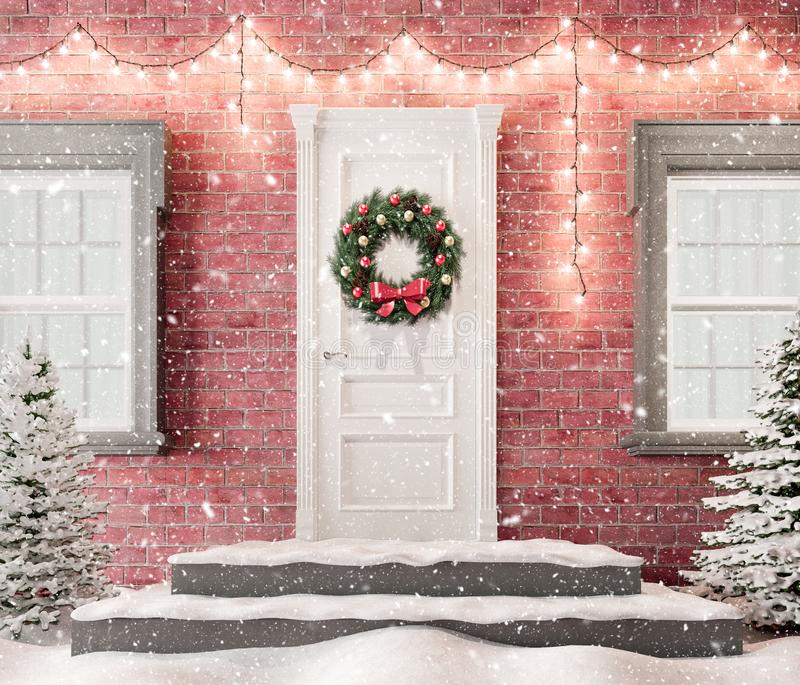 White front door with Christmas wreath and festive decorations on holidays at snowy night 3d render vector illustration