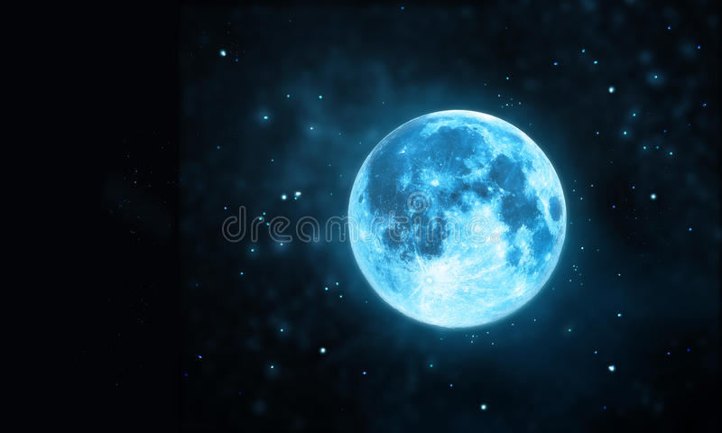 White Full Moon Atmosphere With Star At Dark Night Sky ...