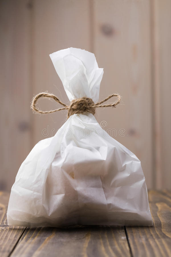 White full paper sack royalty free stock image