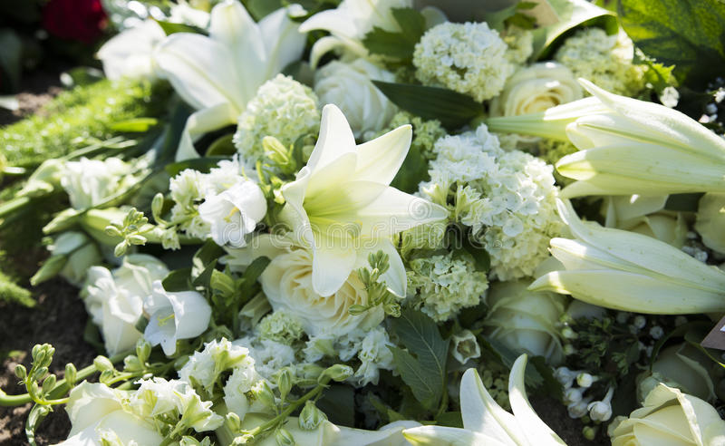 White funeral flowers stock image