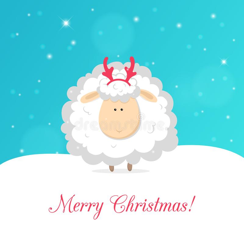White funny sheep isolated on blue background. Vector christmas greeting card stock illustration