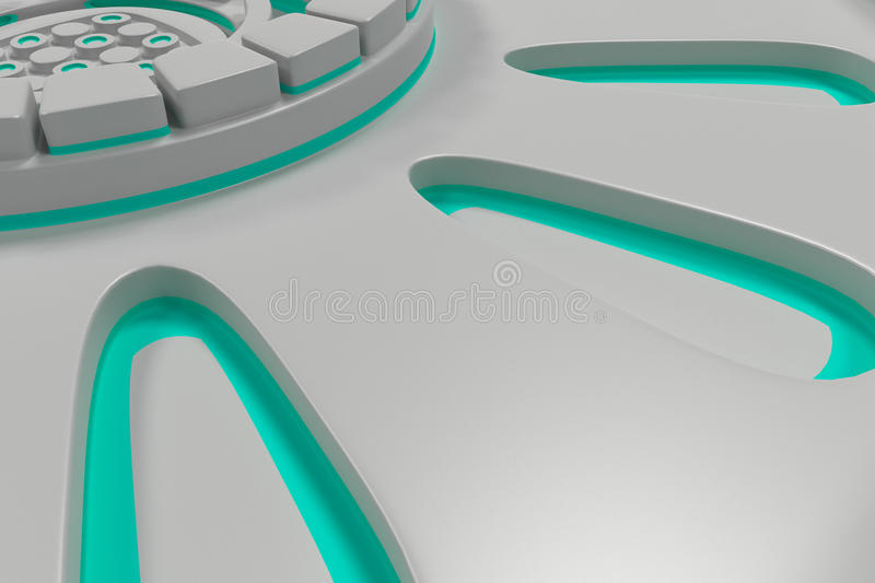 White futuristic technological background with glowing lines. White futuristic technological background made from extruded shapes with glowing lines. Abstract stock illustration