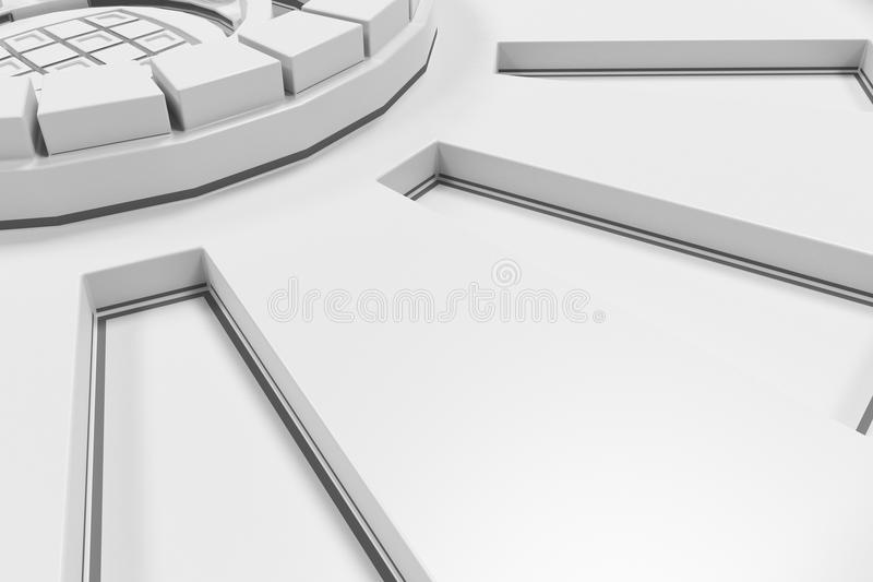 White futuristic technological background with glowing lines. White futuristic technological background made from extruded shapes with glowing lines. Abstract royalty free illustration