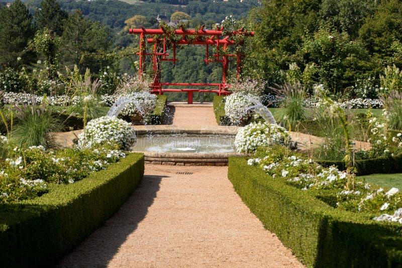 White garden in the picturesque Jardins du Manoir d Eyrignac in Dordogne. France stock photo