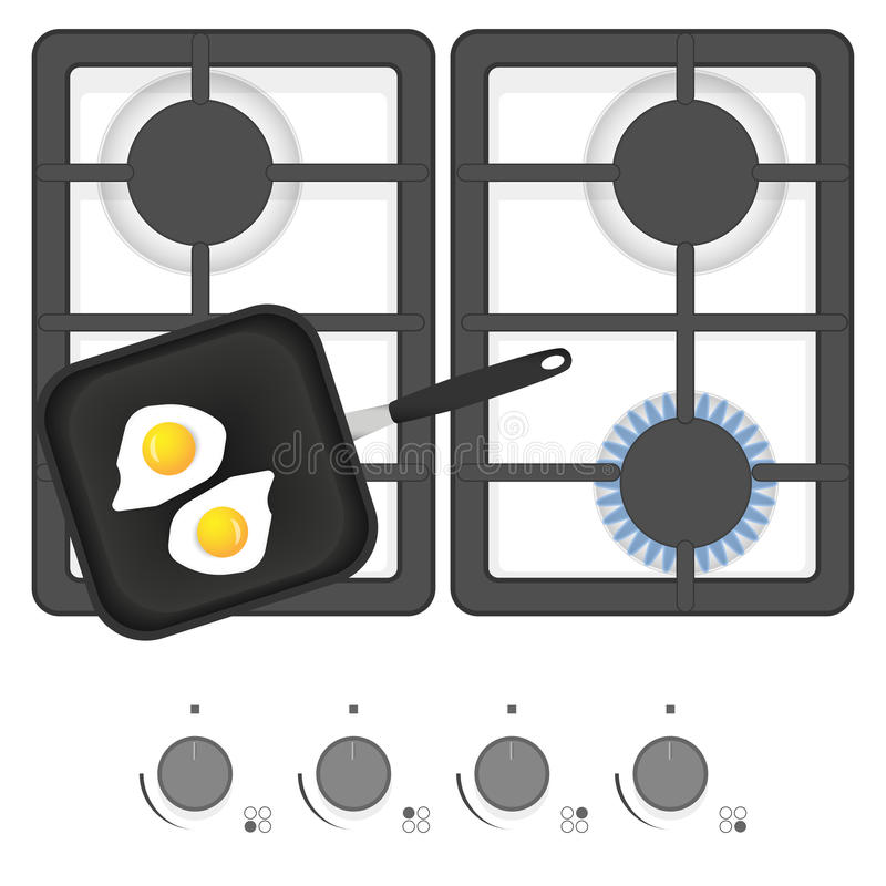 White gas stove with frying pan and fried eggs. Top view vector illustration. vector illustration