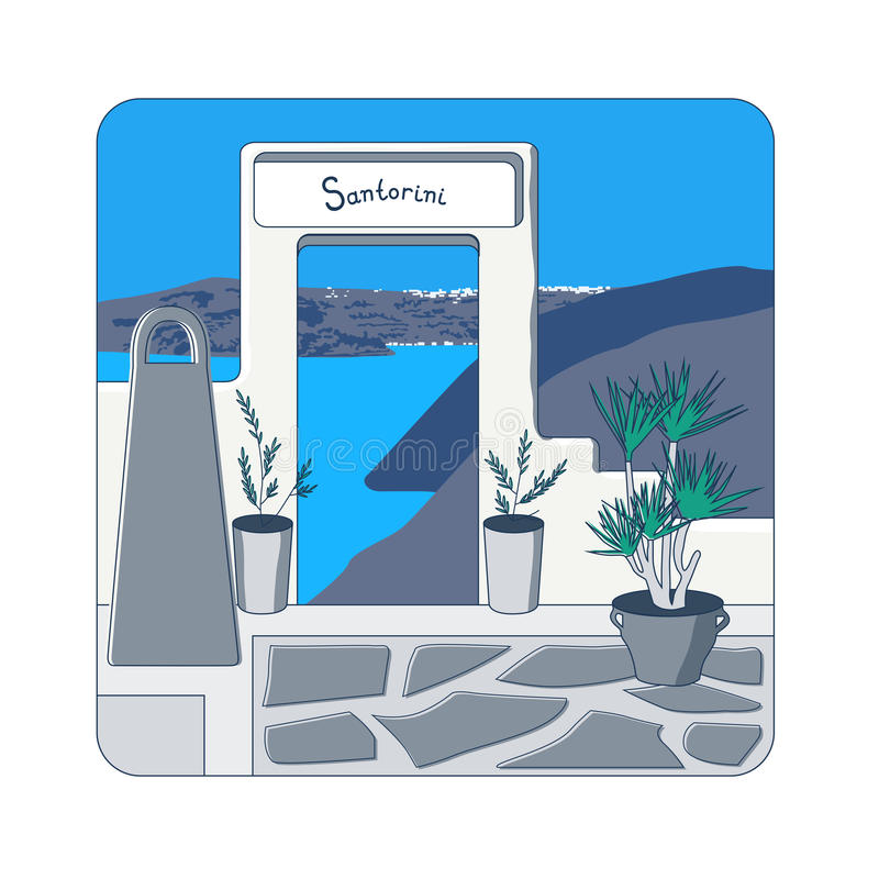 White gate at Santorini island in Greece. White gate in the wall and olive trees in the pots at Santorini island in Greecevector illustration vector illustration