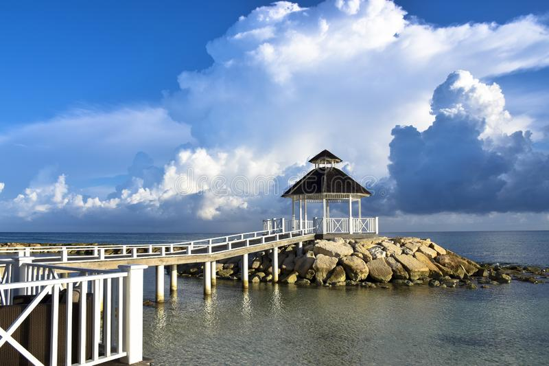Gazebo on beach at Montego Bay in Jamaica royalty free stock photo
