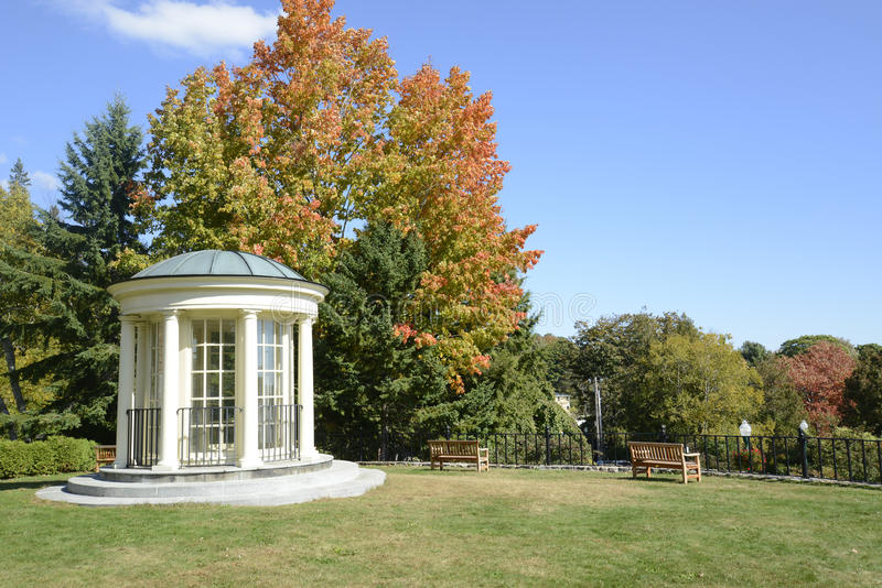 White gazebo and park benches in autumn royalty free stock image