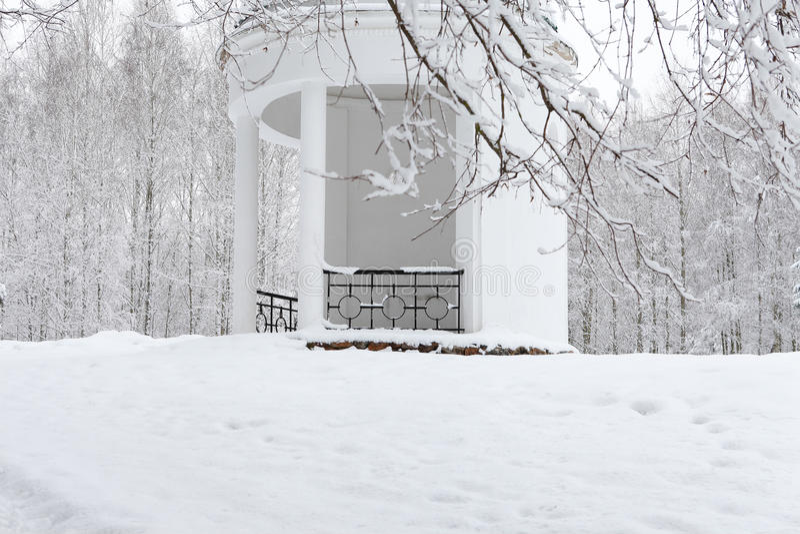 Download White Gazebo In The Winter Garden. Landscape Stock Image   Image:  37015261