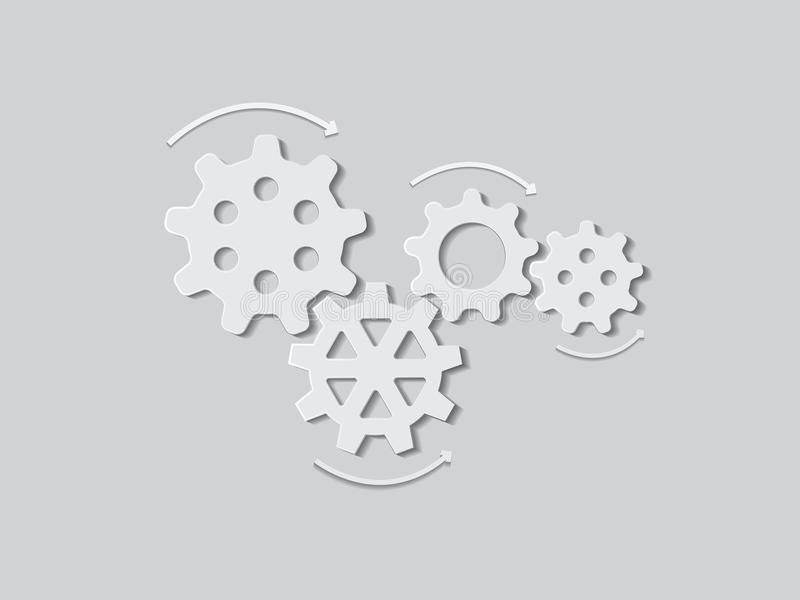 White gears of machine work with shadow on paper for industry. Multiple gears of machine in industry stock illustration