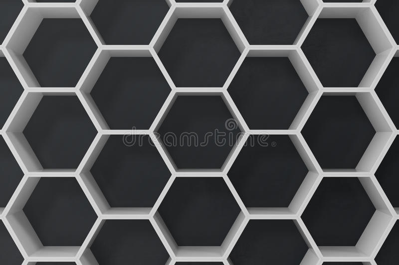 White geometric hexagonal abstract background with black wall, 3D rendering vector illustration