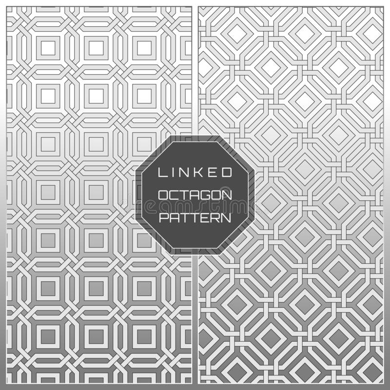 White Geometric Linked Octagon Pattern Background vector illustration