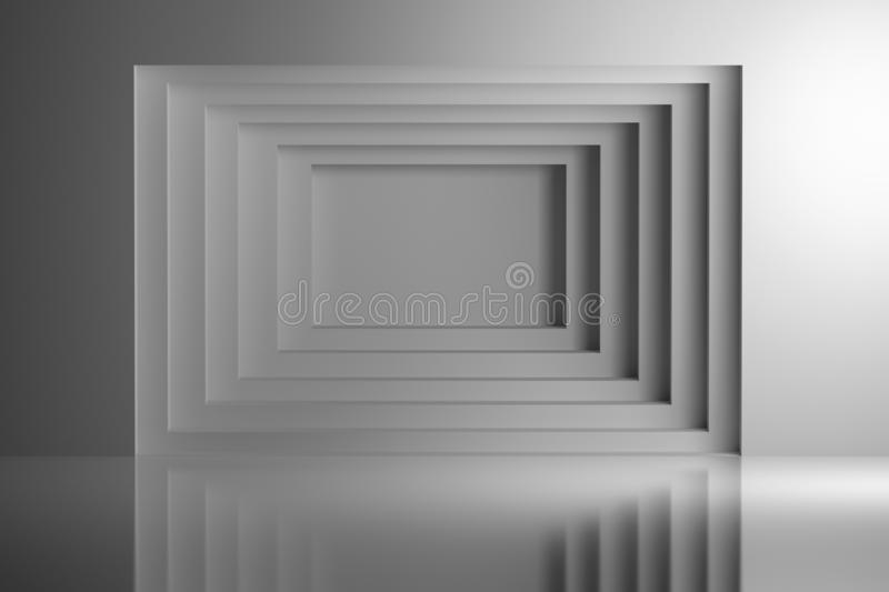White geometric tunnel screen with blank copy space in the center. Wall geometry over shiny reflective surface. 3d illustration royalty free illustration