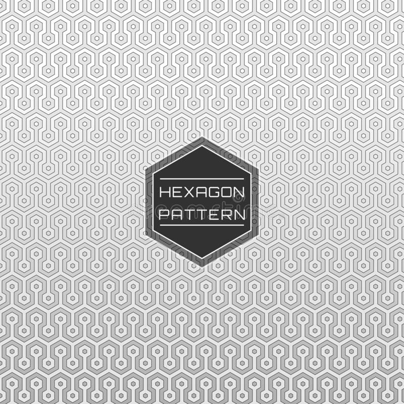 White Geometric Seamless Circuit Hexagon Pattern background vector illustration