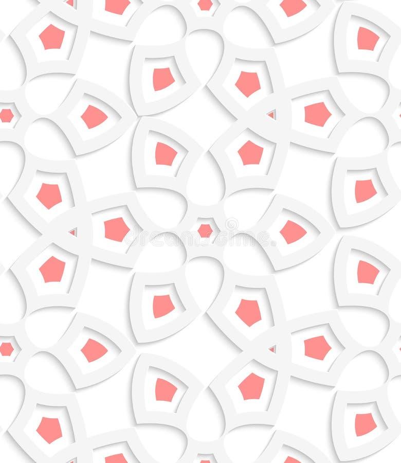 White  Geometrical Floristic Net Seamless Pattern Stock Vector