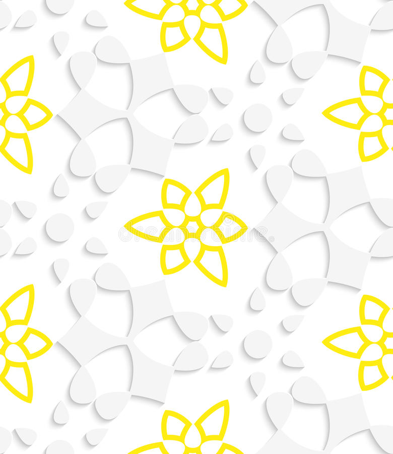 White  Geometrical Floristic With Yellow Layering Seamless Patte Stock Vector