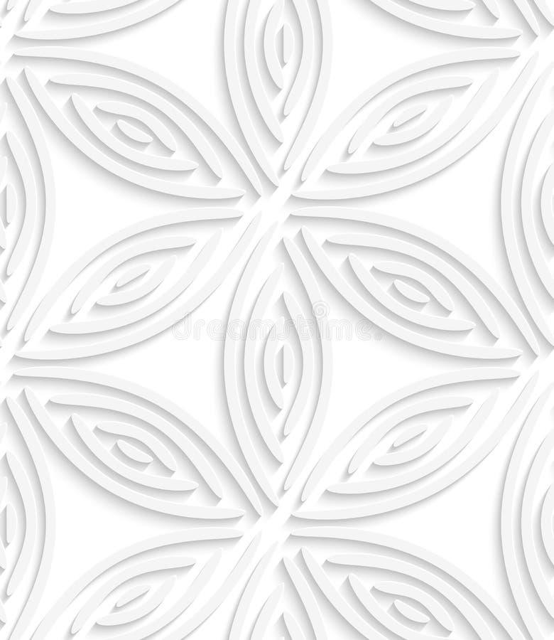 White geometrical flower like shapes seamless pattern vector illustration
