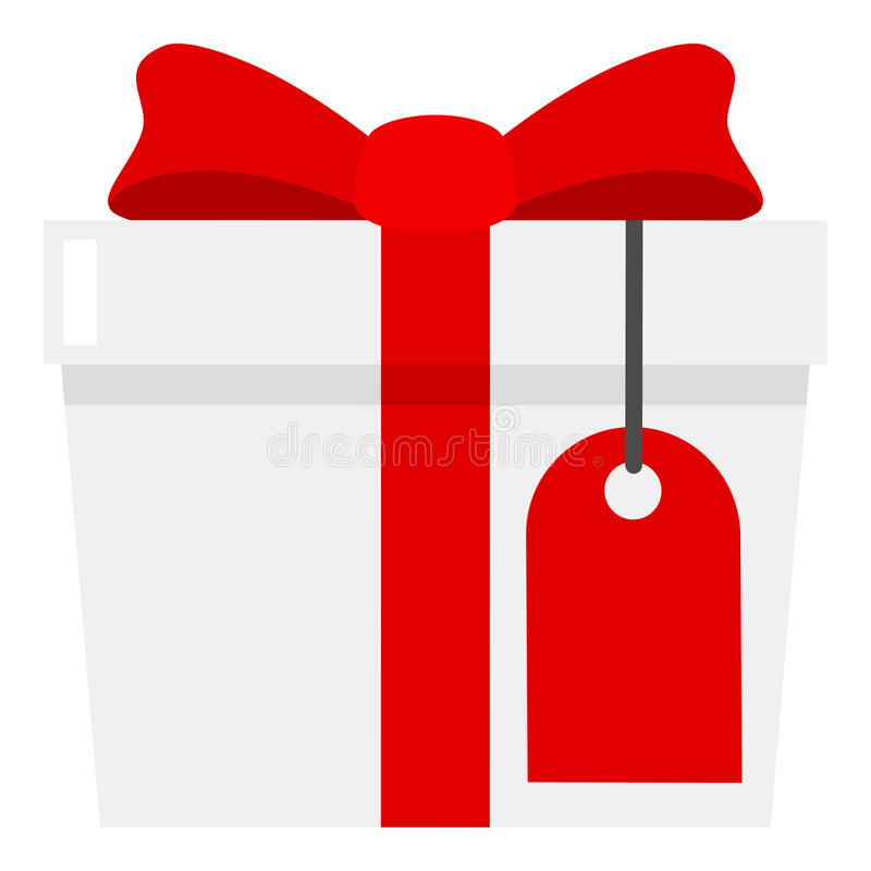 White Gift with Blank Label Flat Icon. White gift box flat icon with red ribbon and blank label, isolated on white background. Eps file available vector illustration