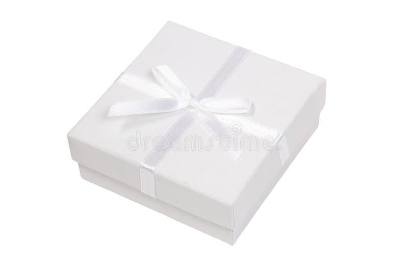 White gift box. On white background royalty free stock photos