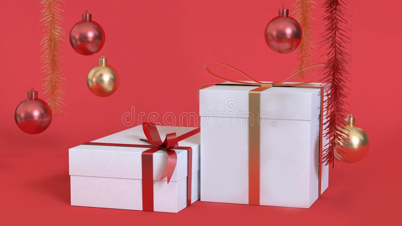 White gift box of abstract christmas background 3d rendering metallic red gold ball stock photos