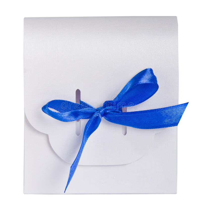 White gift box blue satin ribbon stock photography
