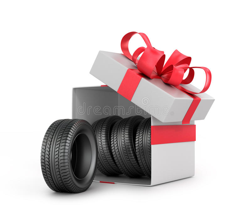 White Gift Box with car tires. Isolated on a white background royalty free illustration