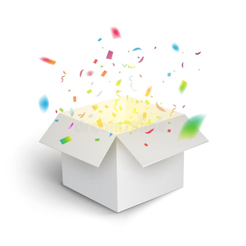 Free White Gift Box Confetti Explosion. Magic Open Surprise Gift Box Package Decoration Royalty Free Stock Image - 117617626
