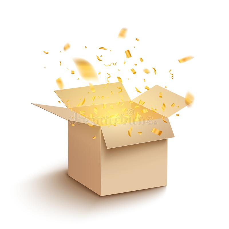 Free White Gift Box Confetti Explosion. Magic Open Surprise Gift Box Package Decoration Royalty Free Stock Photos - 167591578
