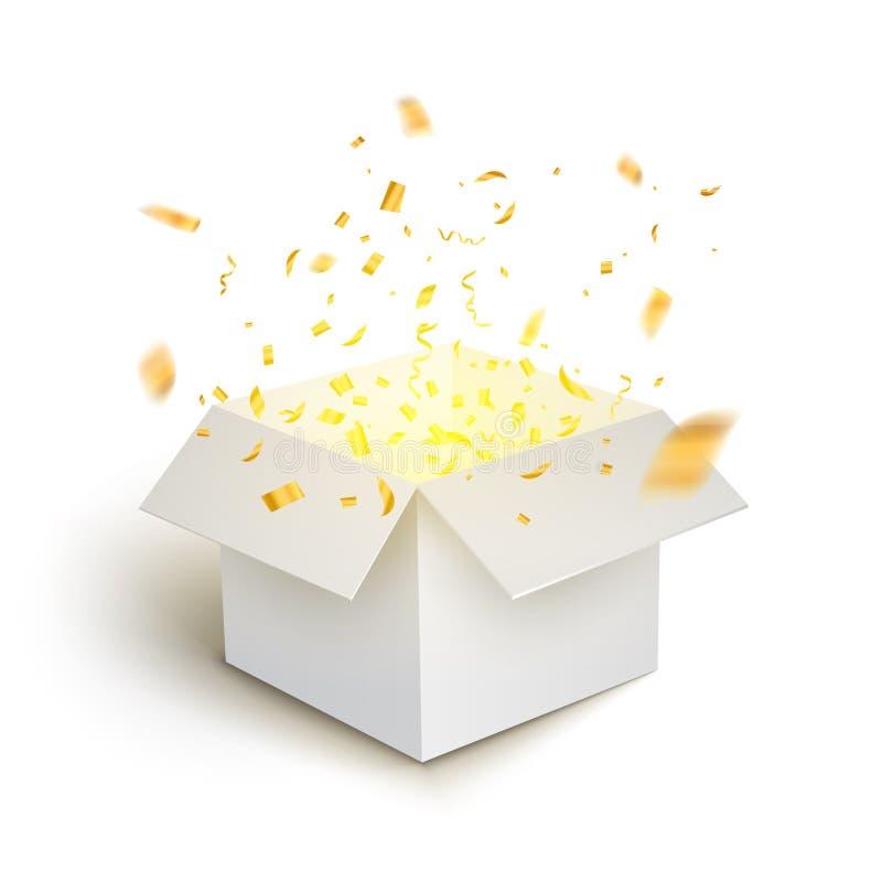 White gift box confetti explosion. Magic open surprise gift box package decoration stock illustration