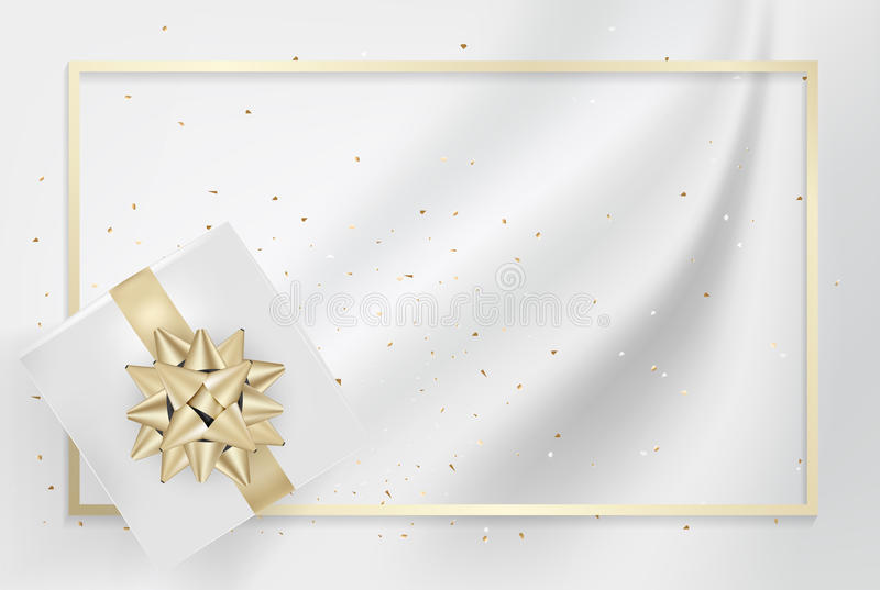 White gift box and gold bow ribbons with confetti on light silk. Texture background. Vector illustration stock illustration