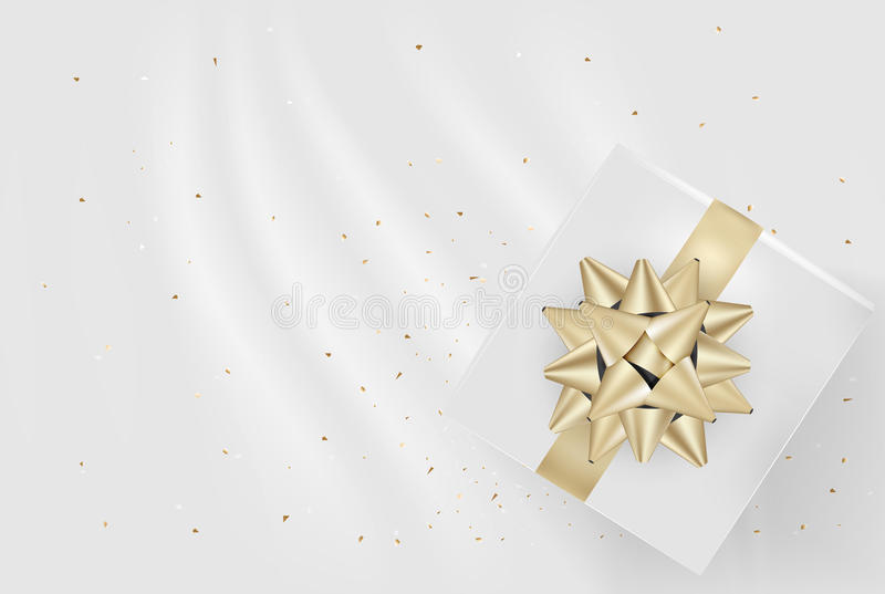 White gift box and gold bow ribbons with confetti on light silk. Texture background. Vector illustration vector illustration