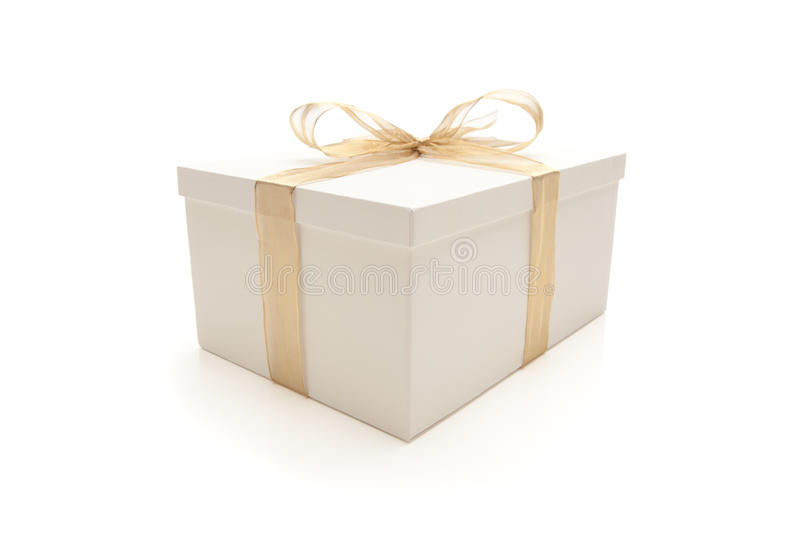 Download White Gift Box With Gold Ribbon Isolated Stock Photo - Image of photo, party: 15232652