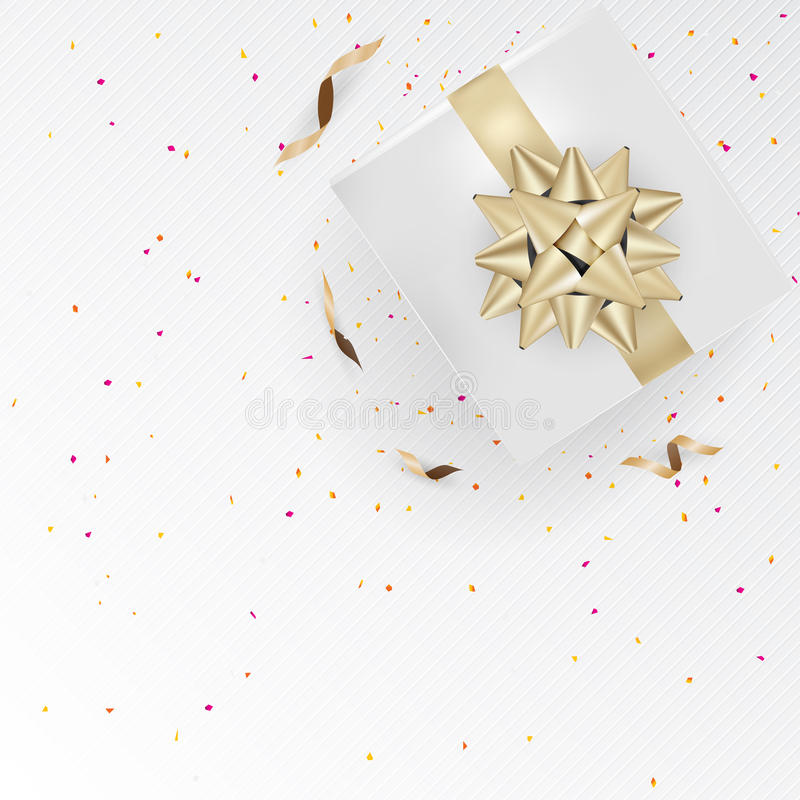 White gift box and gold ribbons with confetti on light silk text. Ure background. Vector illustration vector illustration