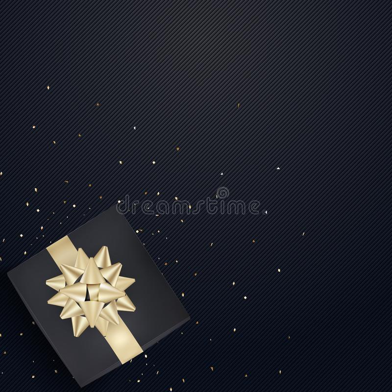 White gift box and gold ribbons with confetti on light silk text. Ure background. Vector illustration royalty free illustration