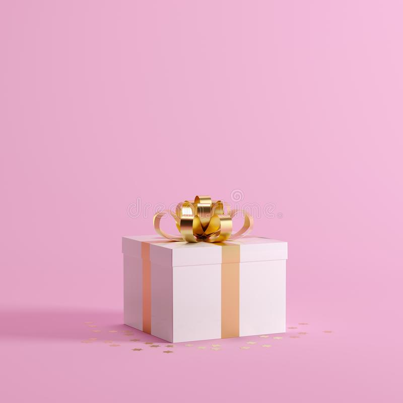 White gift box with golden ribbon on pastel pink background for copy space. Christmas minimal idea concept vector illustration