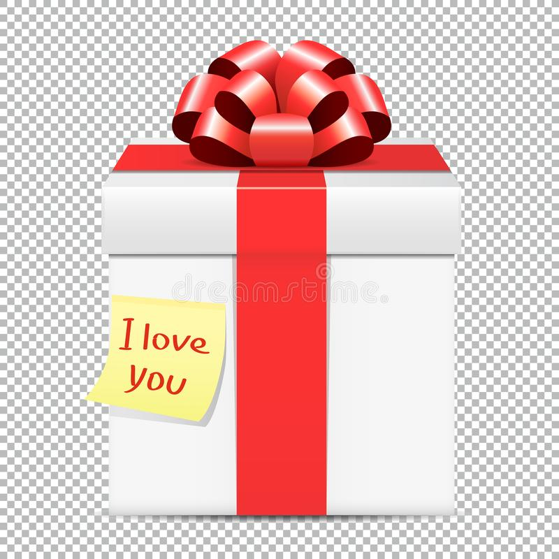 White gift box with red bow and yellow paper note isolated on transparent background vector illustration